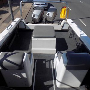 Swift 165 forward console on trailer 2 x 60 hp mariner bigfoots trim & tilts low hours !!